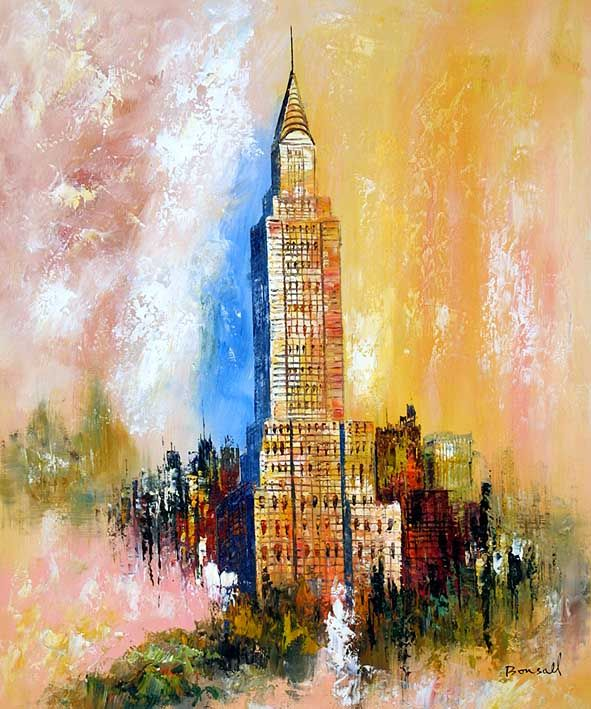 Chrysler Building Oversized Canvas Wall Art Building Painting