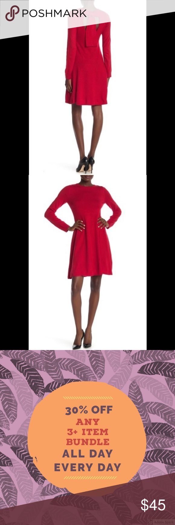 Vince Camuto Red Bow Knit Dress Princess Line Vince Camuto Knit Long Sleeve Dress Nwt Features An Oval Ba Long Sleeve Knit Dress Knit Dress Red Sweater Dress [ 1740 x 580 Pixel ]