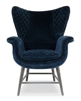 wingback armchair w blue velvet upholstery hollywood regency oak rh pinterest com