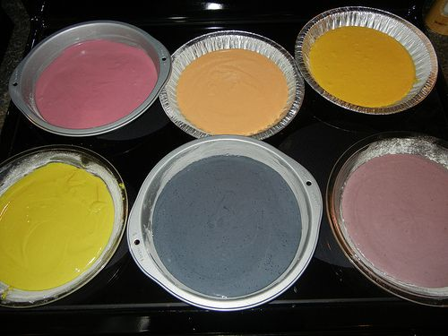 Preparing the batter for the oven....Natural food dye rainbow ...