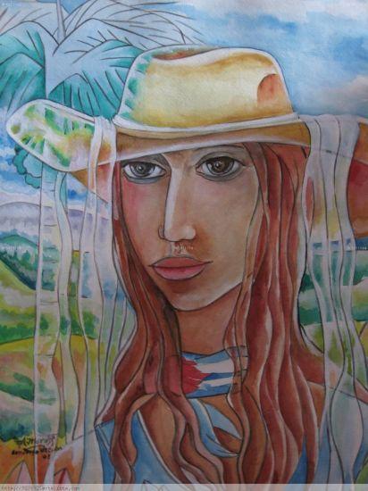 Alfredo Castillo Mordss. Estados Unidos. Campesina cubana con sombrero.