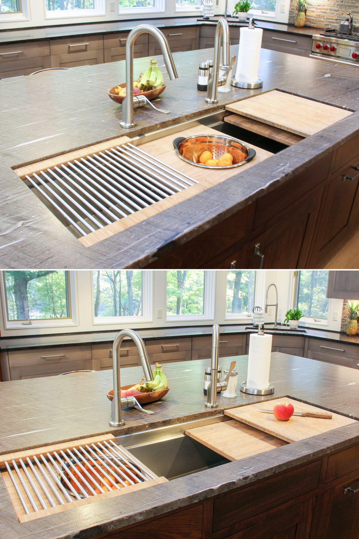Kitchen island sink with cutting boards, colander and dish drying ...