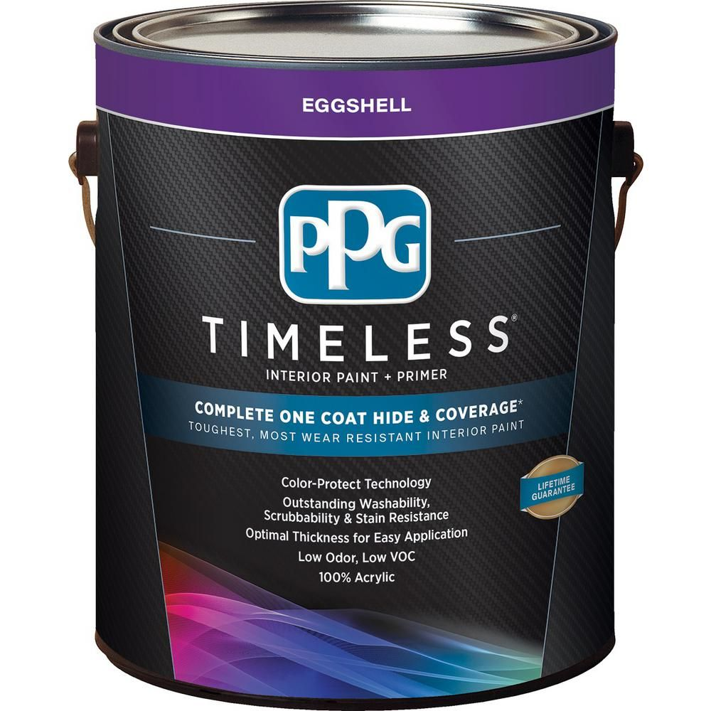 Ppg Timeless 1 Gal Pure White Base 1 Eggshell Interior Paint With Primer Ppg83 310 01 Ppg Timeless Interior Paint Paint Primer