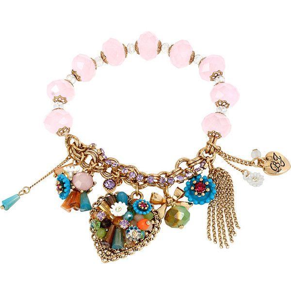 Betsey Johnson Weave And Sew  Woven Half Stretch Bracelet ($55) ❤ liked on Polyvore featuring jewelry, bracelets, multi, new arrivals, bracelet charms, vintage charms, chain bracelet, vintage heart charms and multi chain bracelet