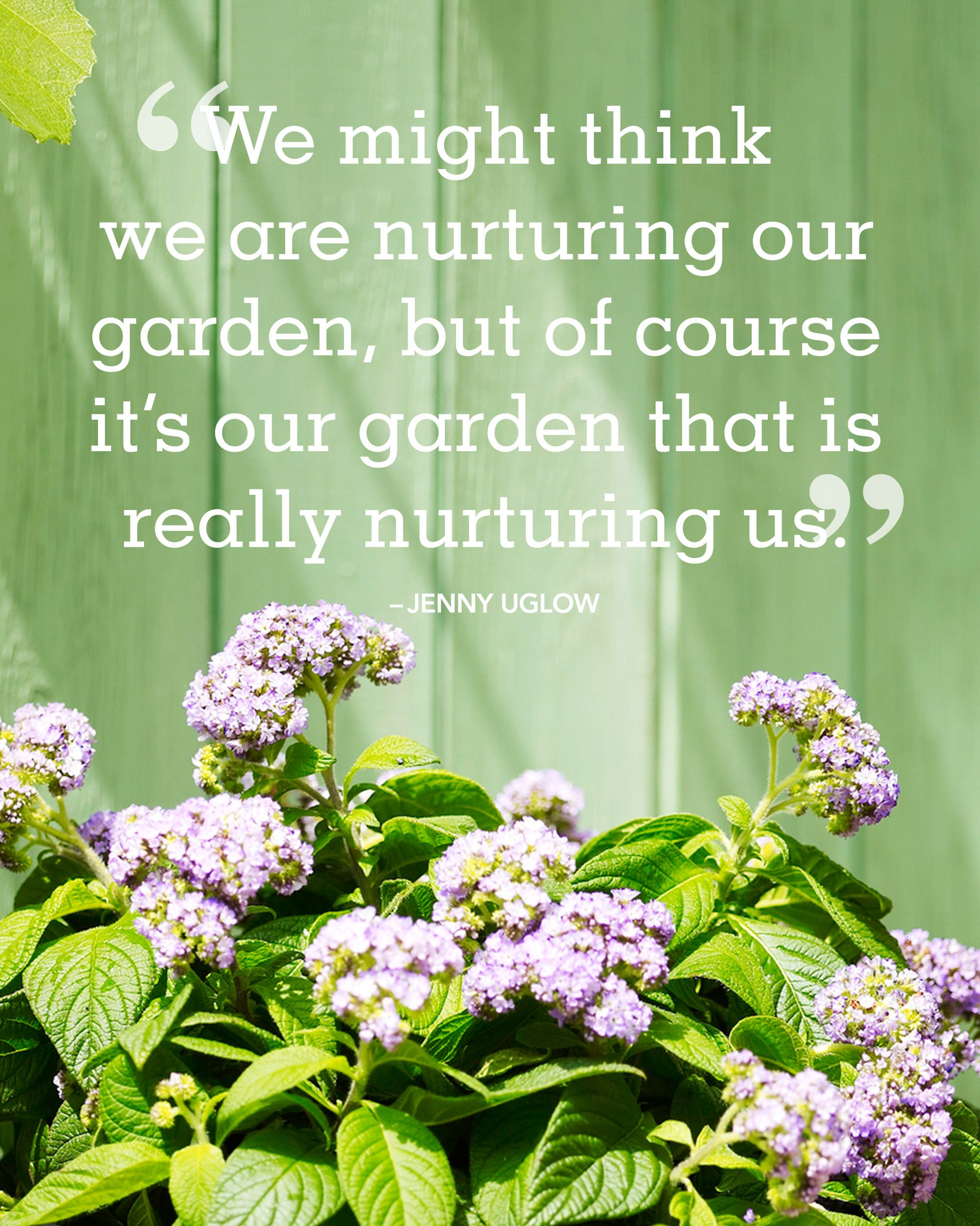 We might think we are nurturing our garden, but of course it's our garden that is really nurturing us. -Jenny Uglow