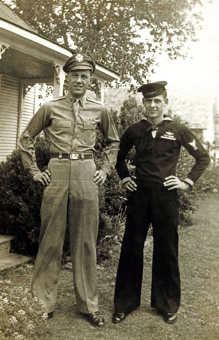 The boys home on leave. My uncles Maurice and Bill Paschall, Bridgepeort, Texas, about 1944.