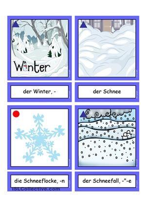 flashcards winterw rter 1 mittel n met winter words learn german german language. Black Bedroom Furniture Sets. Home Design Ideas