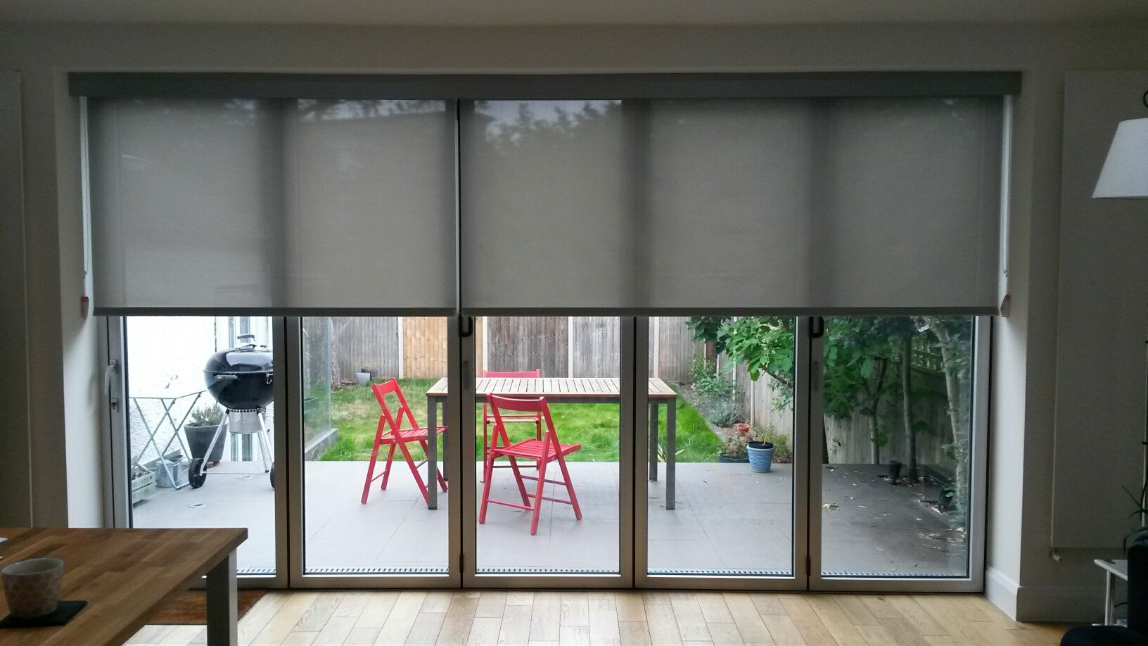 Blfold door blinds specialist screen fabrics cover huge for Blinds for french doors ideas