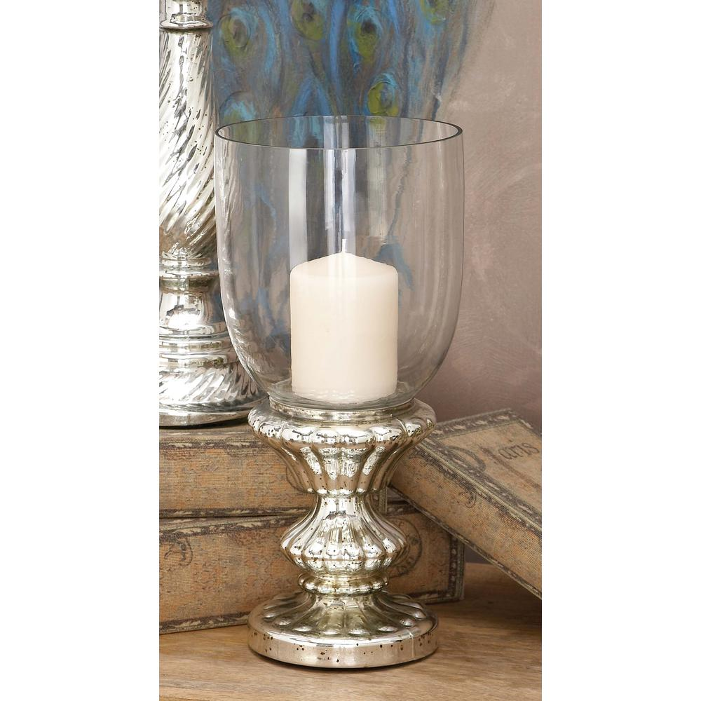 Litton Lane Tarnished Silver Glass Hurricane Candle Holder In 2021 Hurricane Candle Holders Candle Holders Glass Hurricane Candle Holder