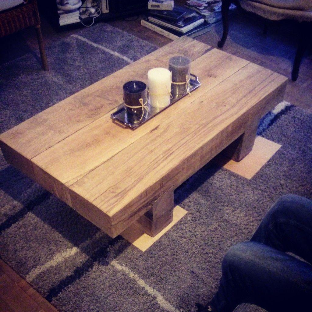 Voici la fabrication d\'un table basse avec des traverses de chemin ...