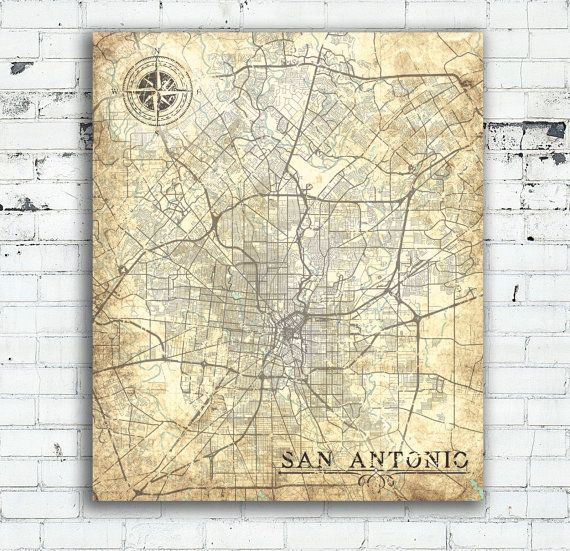 SAN ANTONIO Texas Vintage Map San Antonio City Texas Vintage Map - San antonio on us map