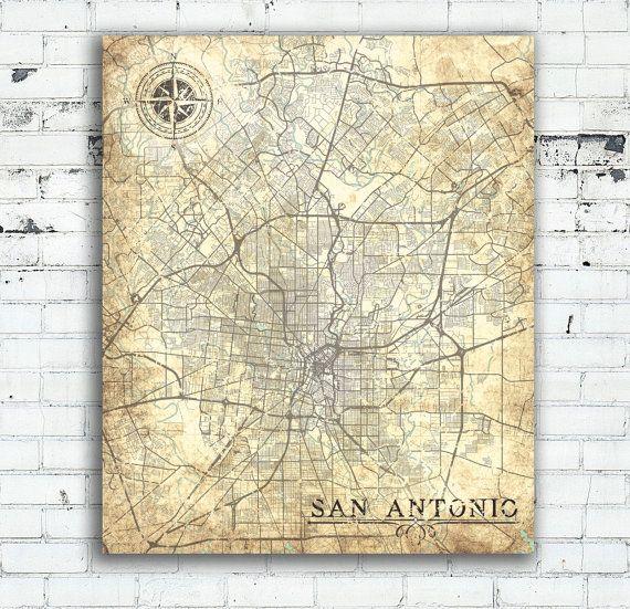 SAN ANTONIO TX Canvas print Texas Tx Vintage map San Antonio Tx City
