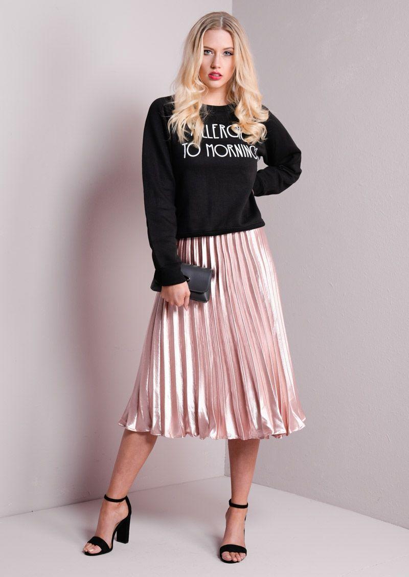 88bfa0d9a Pleated Satin Metallic Midi Skirt Rose Gold in 2019 | Edgy Pleated ...