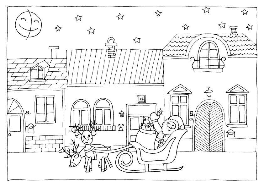 Jön a Mikulás, színező gyerekeknek. :-) Santa is coming to town! Coloring page for kids :-)