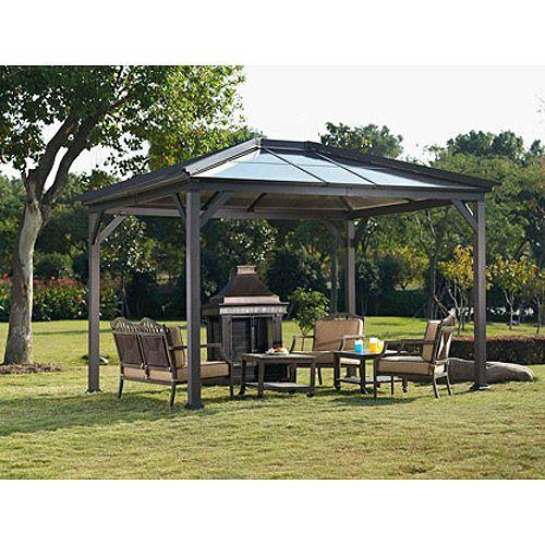Havecty Hard Top Patio Gazebo 114 X 120 Patio Outdoor Decor Walmart Com Gazebo Home Landscaping Hardtop Gazebo