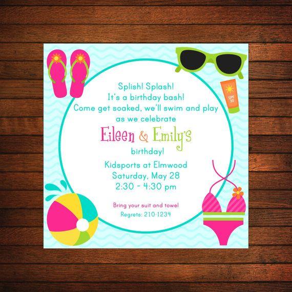Pool Party Invitation, Swim Party Invitations by sugarandspiceNOLA - birthday invitation swimming party