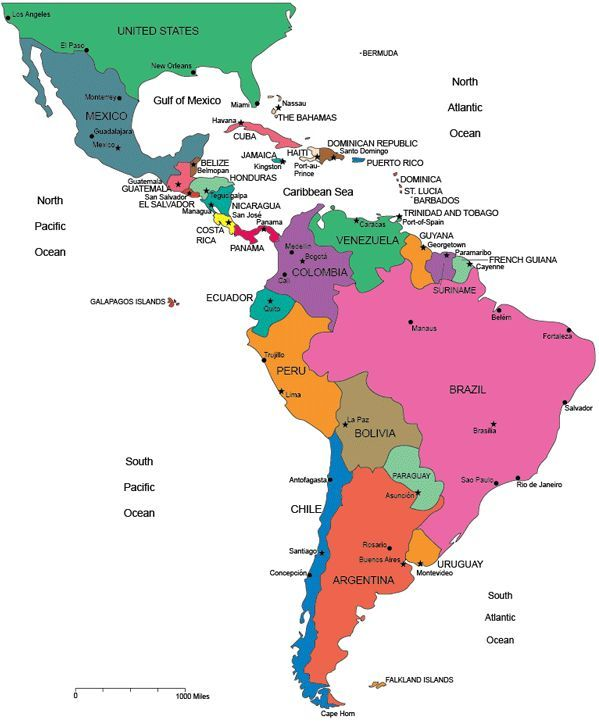 Map of Latin America blank printable South America map Central
