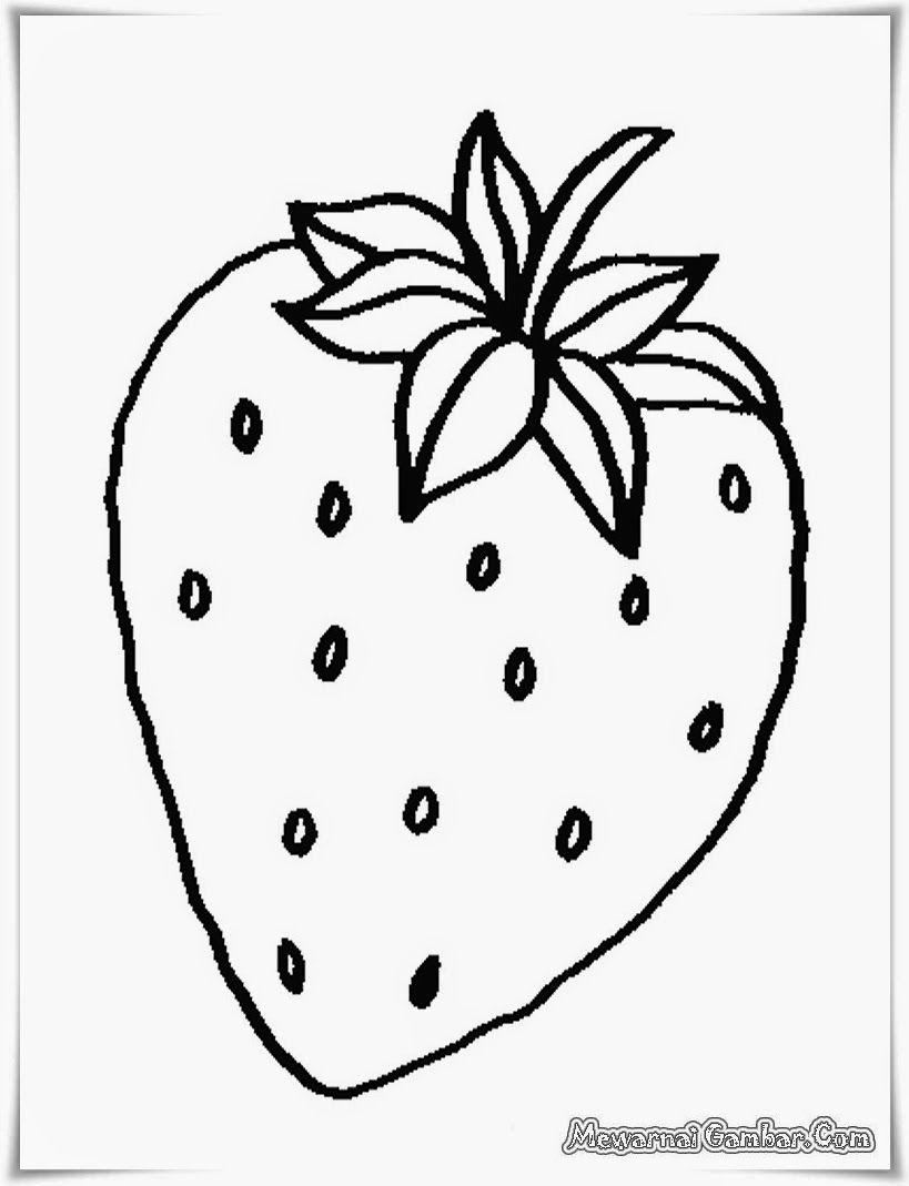 buku mewarnai gambar buah strawberry