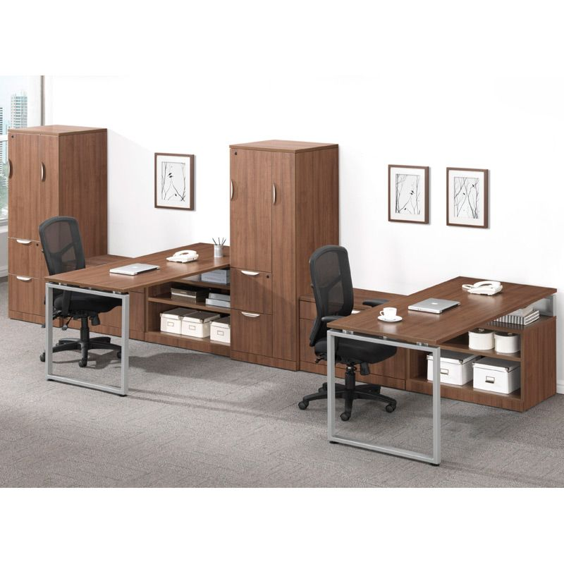 Elements Plus Modern Walnut With Silver Legs Single Door Cabinet Two Drawer Personal Storage Open Bookcase Available At Alternative Office Solutions