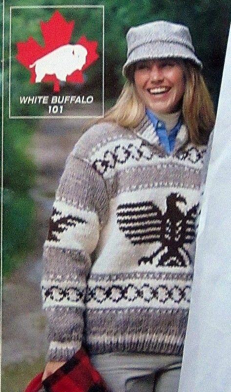 1da2aad2ca4 Cowichan EAGLE THUNDERBIRD sweater knitting pattern adult Pullover ...