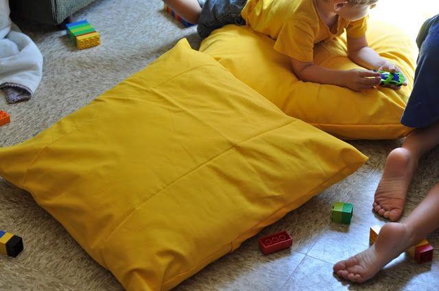 repurpose old pillows into floor pillows