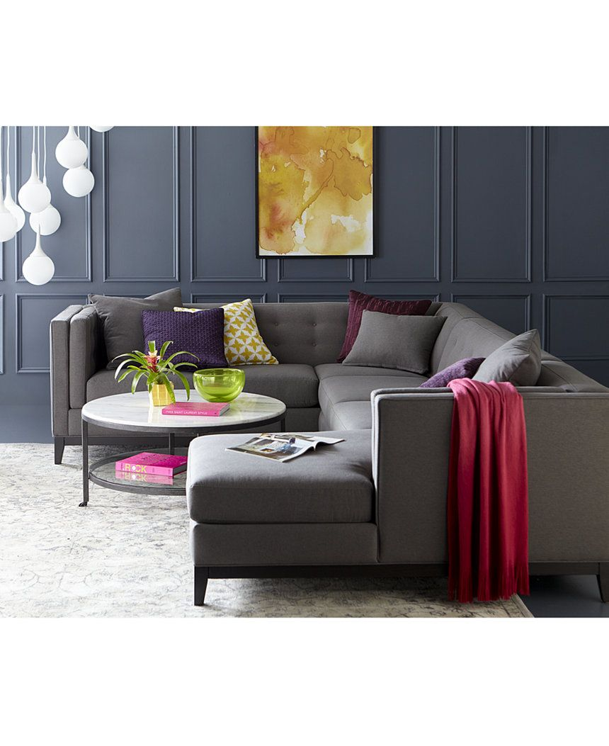 braylei 3 pc tufted sectional w chaise 3 toss pillows only at rh pinterest com