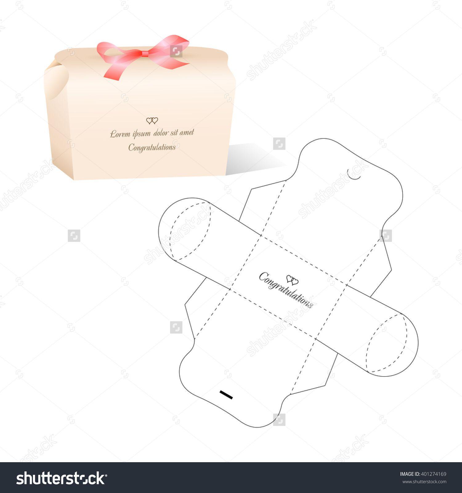Retail Box with Blueprint Template lazos de papel