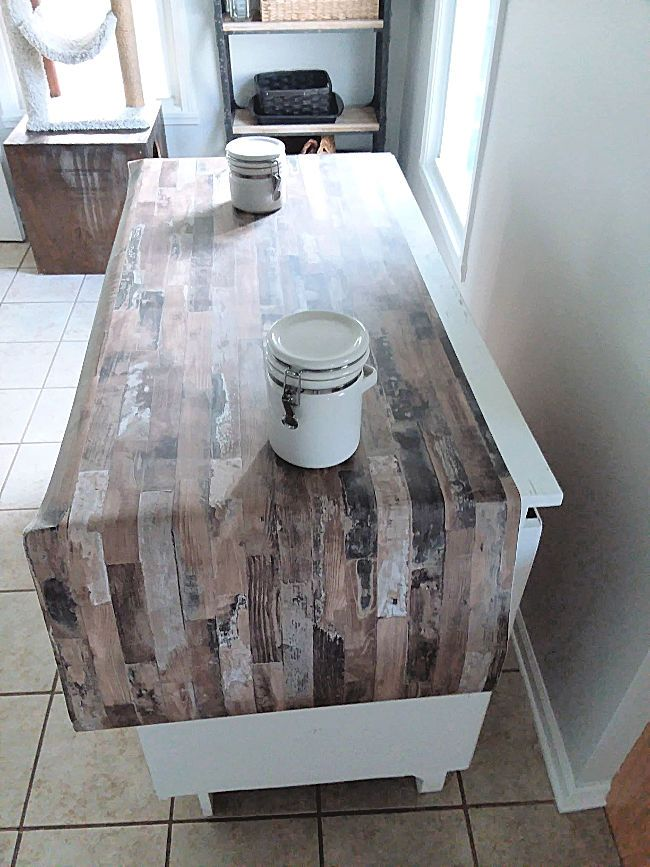 Make A Faux Wood Countertop With Peel And Stick Wallpaper Stow Tellu Wood Countertops Diy Countertops Faux Wood Tiles