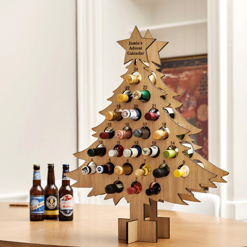 Personalised Oak Advent Calendar For Drinks