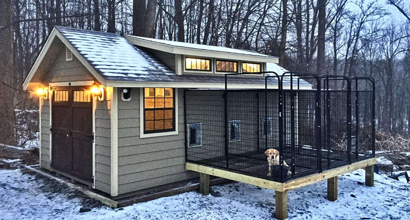 Custom dog kennel lighted a z o r e pinterest for for Building dog kennels for breeding