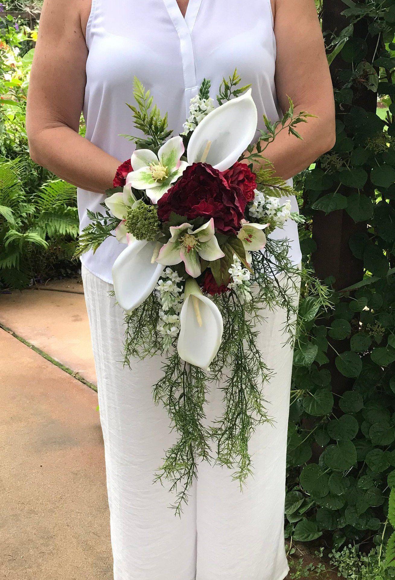 Calla Lilies & Cabbage Rose Cascading Bridal Bouquet