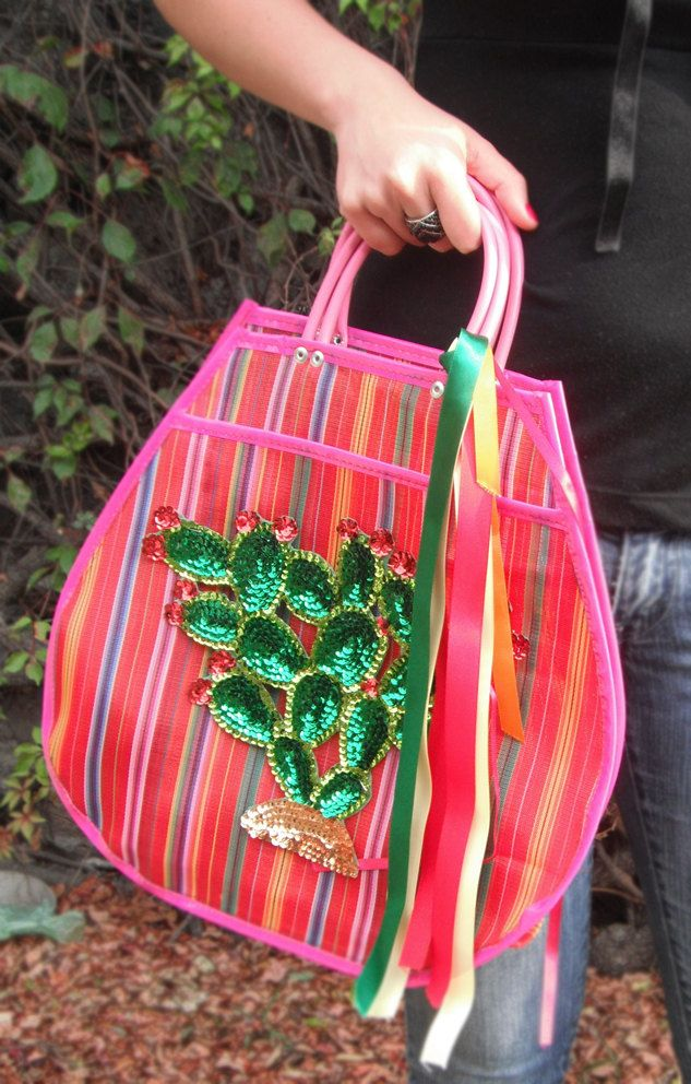 Colorful Mexican cactus net bag