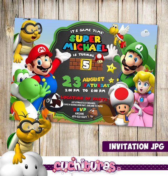 Mario Bros Invitation Mario Bros Party Mario Bros Birthday