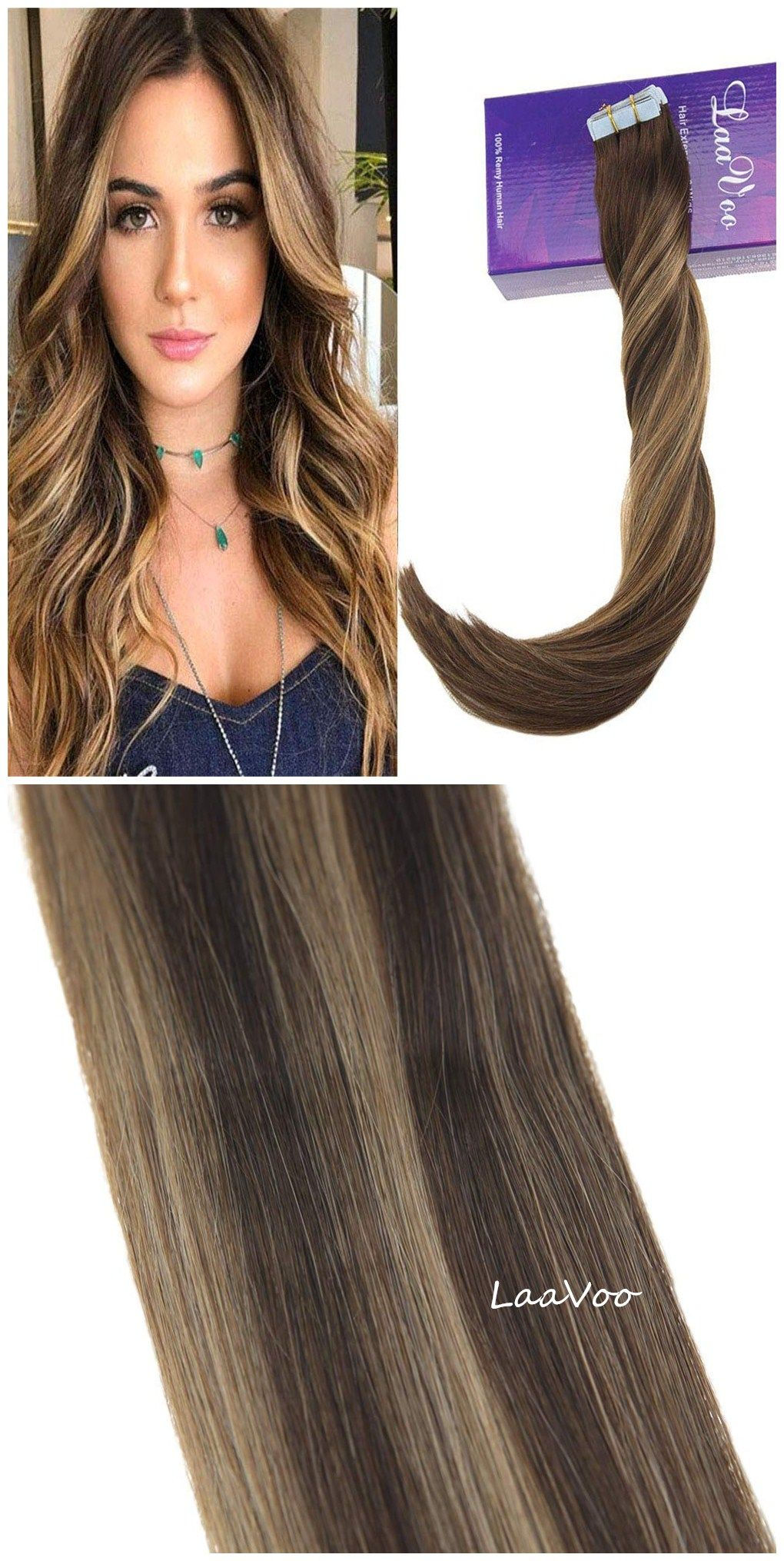Highlight Blonde Tape Hair Extensions Dark Brown Mixed Strawberry