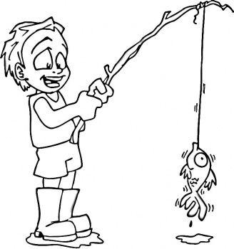 Little Boy Fishing Coloring Page Coloring Sheets For Boys Coloring Pages Boy Coloring