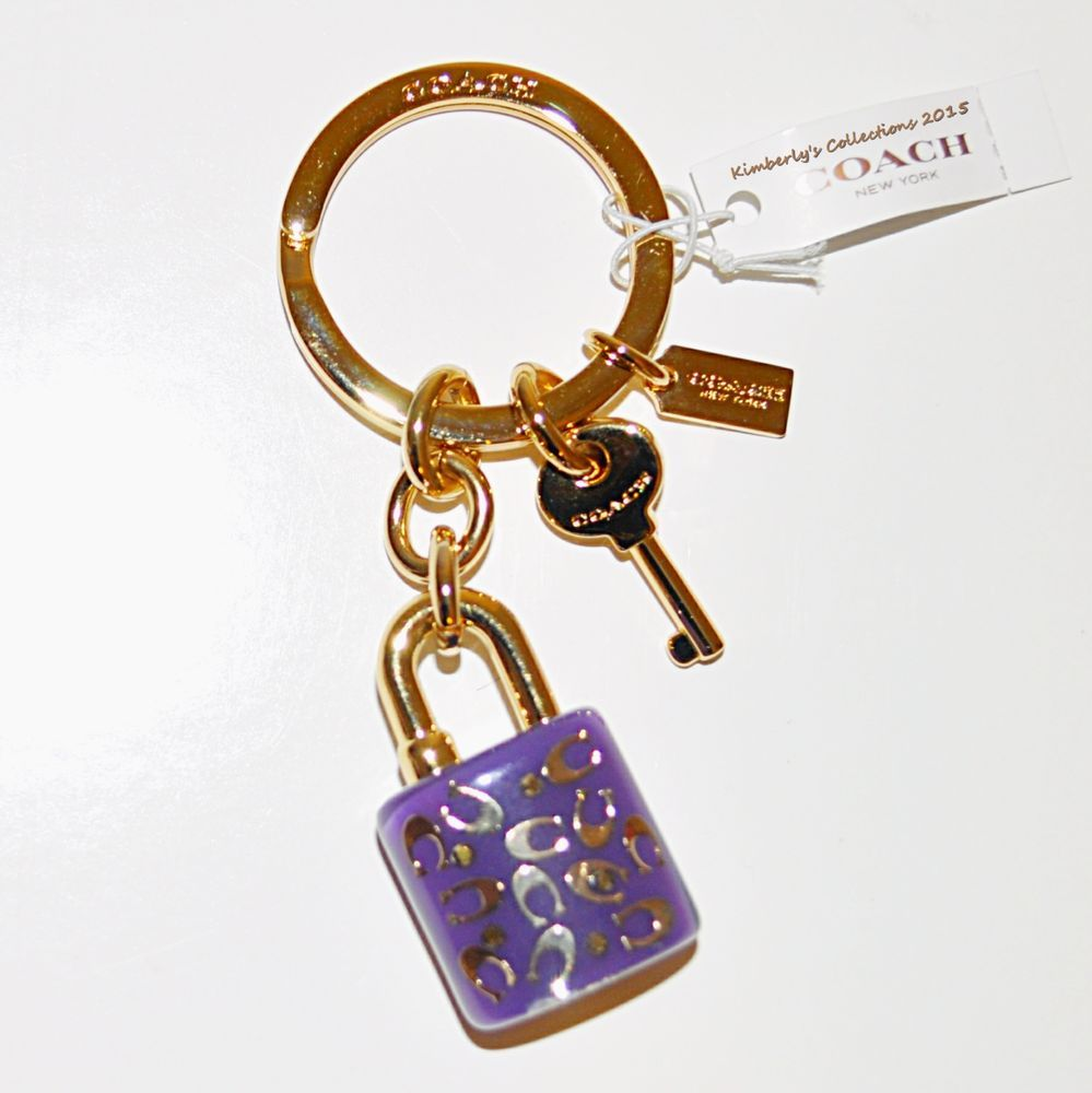 Coach Cute Signature C Purple Bag Key Chain Lock Key Ring Fob Nwt F69936 Purple Bag Keychain Chain Lock