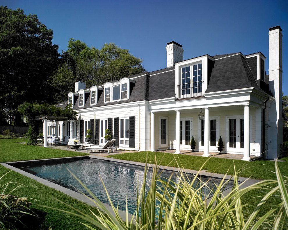 Mansard Roof Traditional Exterior Image Ideas Boston Black Shutters Classical House Classical Porch Covered Porch French In Mansard Roof Roof Design House Roof