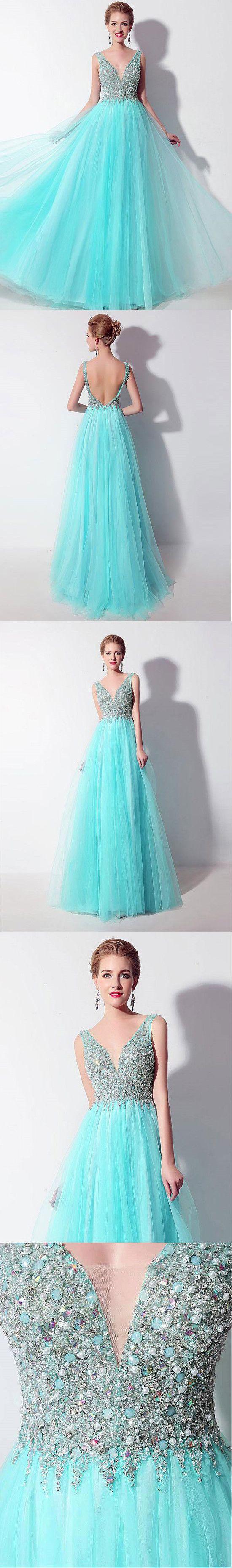 Aline vneck floorlength tulle beaded sequined prom dress