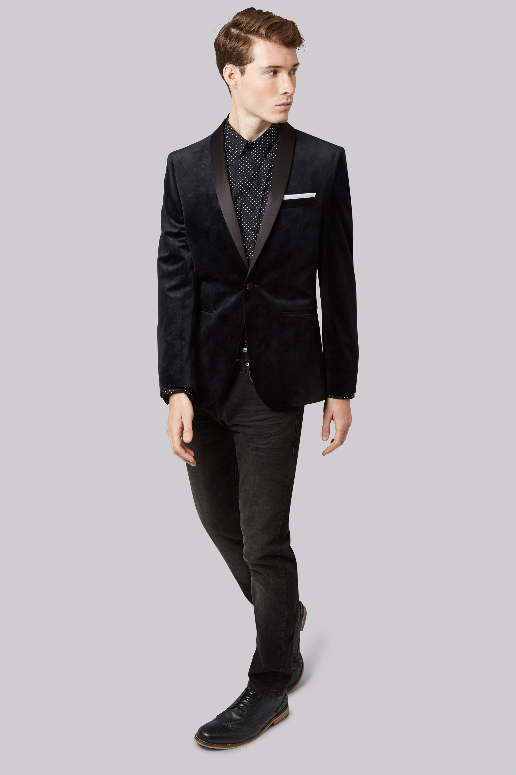 Moss London Slim Fit Black Swirl Velvet Jacket Every occasion is a ...