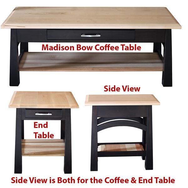 madison bow coffee table amish oak or cherry table hardwoods rh pinterest com