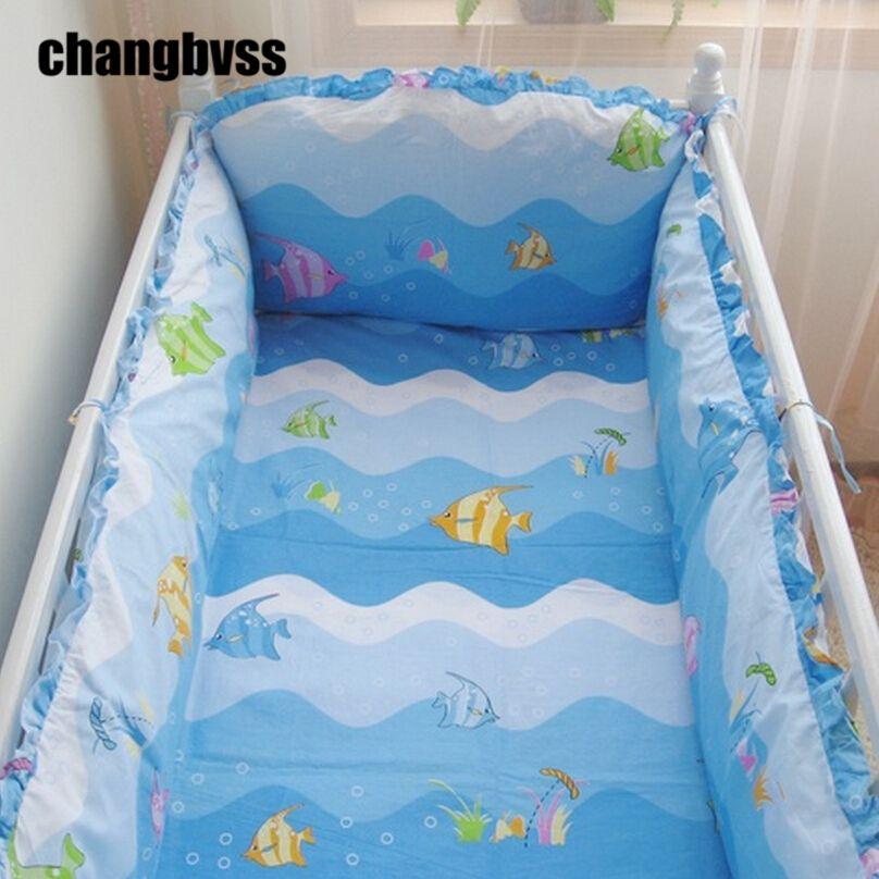 Blue Cartoon Fish Ocean Baby Boy Crib Bedding Set 10pcs Quilt Cot Infant Bed Sheets Per Comforter Organizer