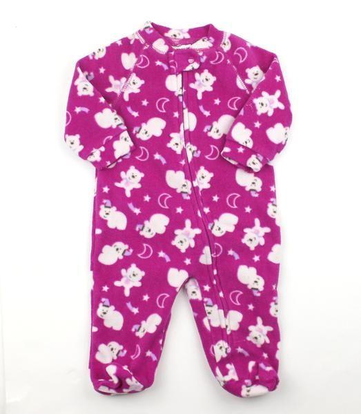 Infant Girls Fleece Zipper Sleepers By Emma Jack In Fuscia With White Bears In Size 3 Months 4 25 Baby Clothes Online Baby Sleepers Girls Fleece