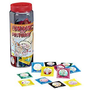 BOTE DE PRESERVATIVOS CON POSTURAS 100 UDS.    Bote de preservativos de látex variados con distintas posturas sexuales.  100 unidades y colores variados.