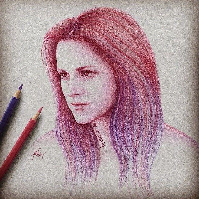 """_artistiq on Instagram """"Colored pencil sketch! Happy"""