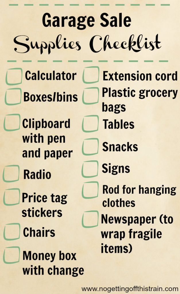 24 Tips For a Successful Garage Sale Yard sale, Yards and Yard sales - moving checklist