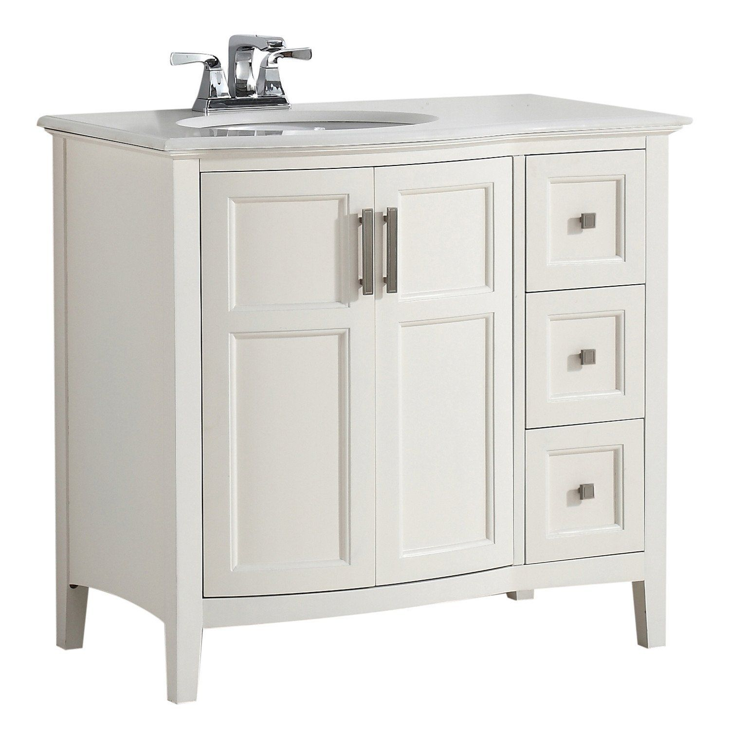 Winston 36 Inch Rounded Front Bath Vanity With Bombay White
