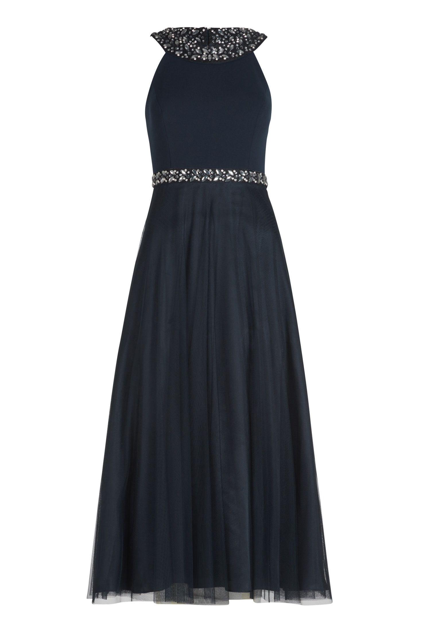 langes midikleid in dunkelblau. tolles kleid von vera mont