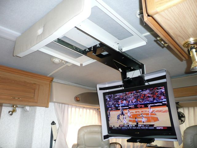 Beautiful Retractable Ceiling Tv Mount With Fold Flip Down Ceiling Tv Mounted Into A Drawer Was My Initial Thought Rv Tv Mount Rv Tv Remodeled Campers