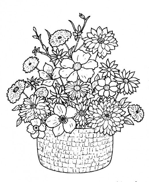 flower bouquet with classical basket coloring pages
