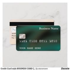 Credit Card Style Business Card 2 Sided Green Zazzle Com In 2021 Business Credit Cards Credit Card Cards